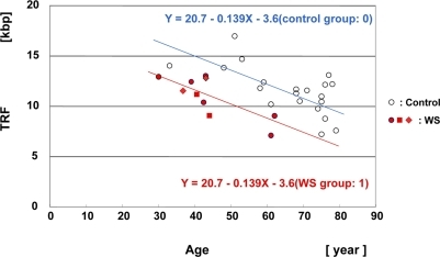 Scatter plot analysis of HinfI-digested TRF length in skin samples from WS patients and controlsMultiple regression analysis yielded a regression line for the 8 WS patients (10 samples) (Y = 20.7 − 0.139X (age) − 3.6 (WS group: 1); in red), and a regression line for the non-WS control subjects, aged between 30 and 80 years (n = 21) (Y = 20.7 − 0.139X (age) − 3.6 (control group: 0); control line denoted in blue). The difference of TRF values between the groups was significant. P = 0.00026. The same patient at the ages of 37 and 43 years (WS-4 case: ◆). The same patient at the ages of 41 and 44 years (WS-7 case: ■).