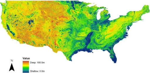 Map Of The Simulated Equilibrium Water Table Depth For Openi - Water depth map