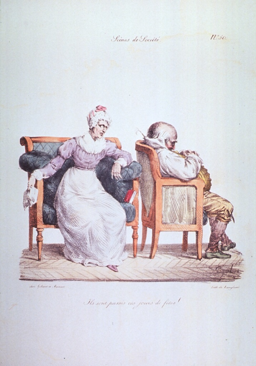<p>Caricature:  A woman sitting on a love seat is looking at the back of the head of a man sitting in a chair to her left; the man is apparently resting after eating a large meal.</p>