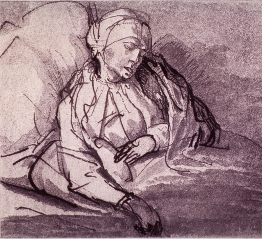 <p>A sick woman in bed.</p>