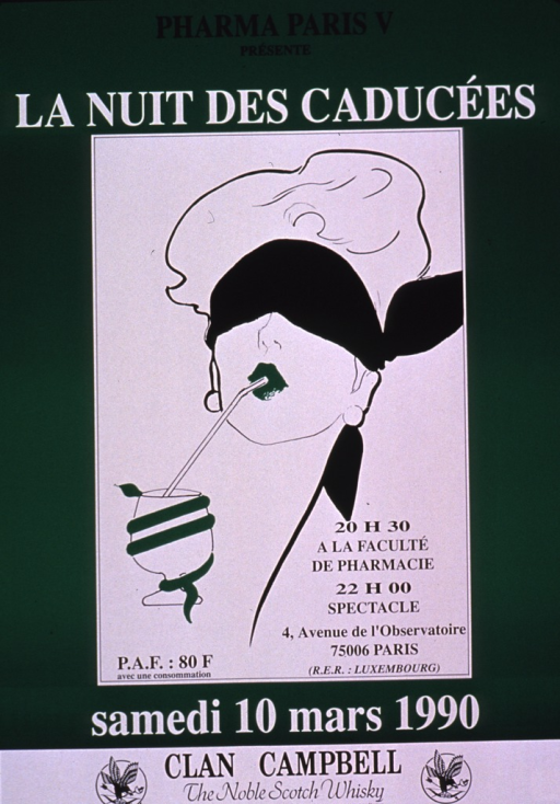 <p>Predominantly bright green poster with black and white lettering announcing a party held Mar. 1990.  Publisher information at top of poster; title below.  Visual image is an illustration of a blindfolded woman sipping from a straw.  The straw sits in a glass that has a snake coiled around it.  Additional text on poster lists date, time, and location of party.  Sponsor information at bottom of poster.</p>