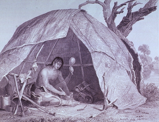 <p>A medicine-man is sitting in a wigwam preparing medicine; he is holding a gourd rattle and chanting an invocation.</p>