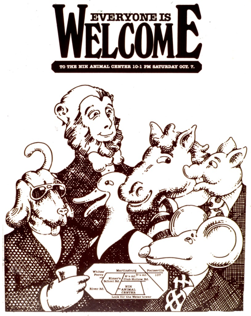 <p>Heads of a rodent, a duck, a horse, a pig, and a goat are atop of human attire.  A map to the NIH animal center is located on the lower middle of the poster.</p>
