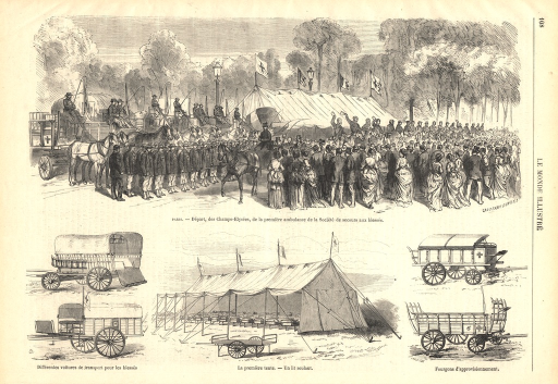 <p>In the head illustration, a horse-drawn ambulance is shown riding past an honor guard and a large crowd of bystanders.  A hospital tent is seen in the background.  Several accompanying smaller illustrations are of various types of ambulances.</p>