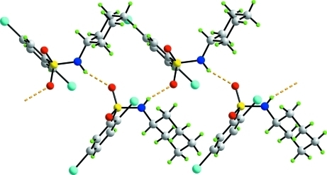 Supramolecular chain formation along c in (I) mediated by N—H···O hydrogen bonding (orange dashed lines).