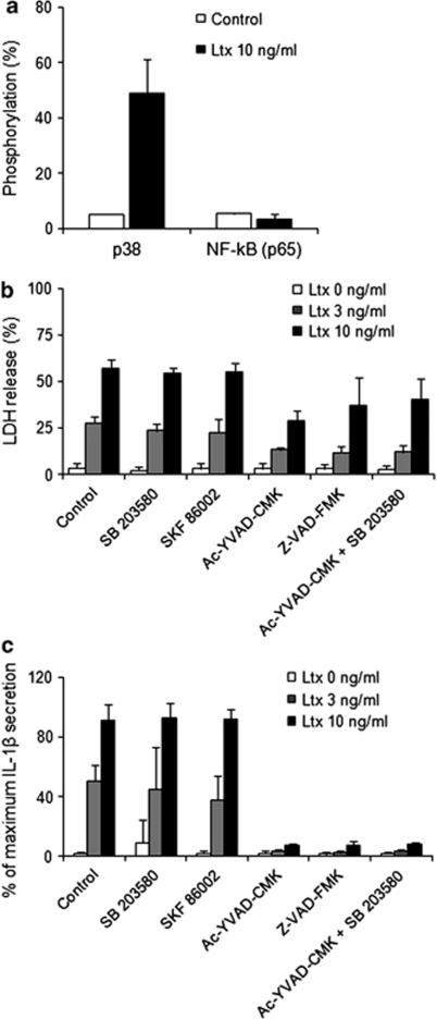 Caspase-1 and p38 inhibition, their effects on A. actinomycetemcomitans leukotoxin-induced lysis and IL-1β secretion from human macrophages. (a) Flow cytometric analysis of p38 and NF-κB (p65) phosphorylation in human macrophages exposed to 10 ng/ml Ltx for 5 min as compared with control cells. Mean values±S.D. of three experiments from macrophages obtained from different donors. (b) Extracellular release of LDH and (c) ELISA quantification of IL-1β secretion of human macrophages exposed to 0, 3 or 10 ng/ml leukotoxin for 60 min. The experiments were conducted without or with selective inhibitors: for p38 (SB 203580 or SKF-8600, 10 μM) or caspase-1 (Ac-YVAD-CMK or Z-VAD-FMK, 100 μM). Mean values±S.D. of four experiments with different macrophage donors