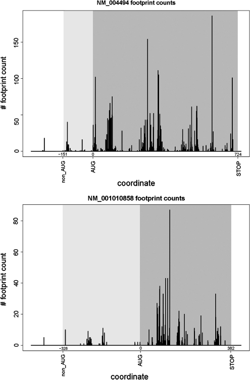 Plots showing density of mRNA fragments protected by ribosomes for NM_004494 and NM_001010858. The position of the annotated AUG codon was taken as zero; relative coordinates of stop codons and predicted non-AUG initiators are indicated. Regions corresponding to annotated CDSs are highlighted in dark grey; regions corresponding to non-AUG-initiated extensions are highlighted in light grey. The presence of ribosomal footprints in the region of an extension indicates that the initiation of translation takes place upstream of the annotated CDS.