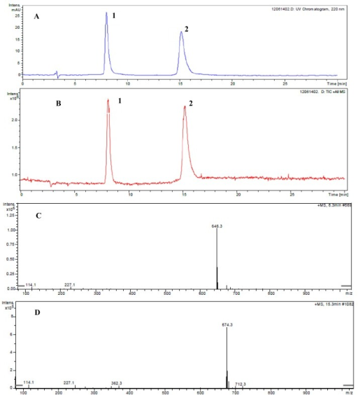 Determination of the ustiloxins A and B by LC-ESI-MS. (A) and (B) show the spectra of HPLC-UV and total ion chromatograms, respectively. (C) and (D) show the ESI-MS spectra of ustiloxins B (peak 1) and A (peak 2), respectively, appearing in Figures 1A,B.