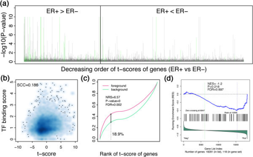 REACTIN algorithm identifies significant activity difference of ER alpha (Haib_T47d_Eralphaa_Gen1h) in the Hess dataset. (a) Genes with higher t-scores (ER+ vs ER-) are more likely to be regulated by ER alpha. Genes are sorted in a decreasing order according to their t-scores (ER+ vs ER-). The –log10(P-value) is calculated by TIP, indicating the probability of a gene is bound by ER alpha in Haib_T47d_Eraphaa_Gen1h ChIP-seq data. The green lines indicates ER alpha target genes identified by peak-based method; (b) The correlation between the t-scores of genes and TF binding scores calculated by TIP; (c) The foreground and background functions for Haib_T47d_Eraphaa_Gen1h binding profile. The foreground and background functions are defined in Formula (xx) and (xx). Note the maximum deviation is obtained at the 18.9% percentile of all genes. (d) GSEA results for the ER alpha target gene sets defined by peak-based method (the green lines in (a)). Note that it cannot detect the activity difference of ER alpha between ER+ and ER- samples.