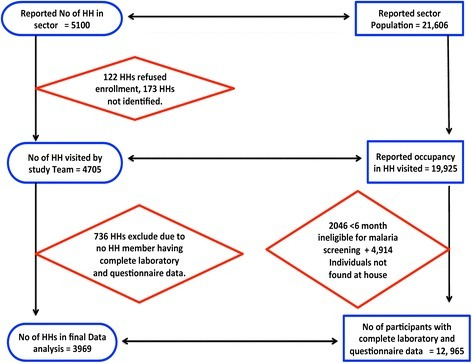 Flow chart of study household/participant enrolment and malaria screening.
