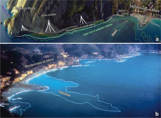 Mesco Point and its environments.a) Perspective photography (photo Regione Liguria) of the coastal tract between Mesco Point and the town of Monterosso-al-Mare, with the main nearshore geomorphological and ecological features. b) The beach of Monterosso-al-Mare viewed from the heights of Mesco Point (photo A. Peirano).The distance between Mesco Reef and the embankment is about 1400 m. Note the change in the structure of the embankment between the early 1990s (photo in b) and 2008 (photo in a).