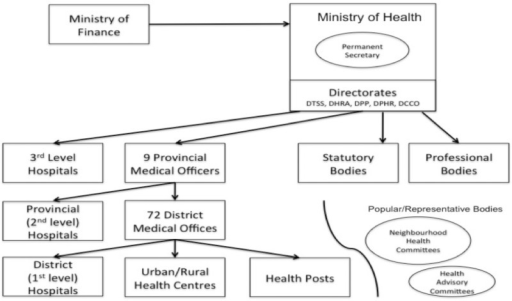 Ministry of Health Administrative Structure c. 2011. Adapted from Thet (2007). Arrows indicate channel of authority, financing or influence. DTSS = Directorate of Technical Support Services; DHRA = Directorate of Human Resources and Administration; DPP = Directorate of Policy and Planning; DPHR = Directorate of Public Health and Research; DCCD = Directorate of Clinical Care and Diagnostic Services.