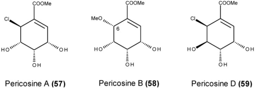 Structure of pericosine A (57), B (58) and D (59).