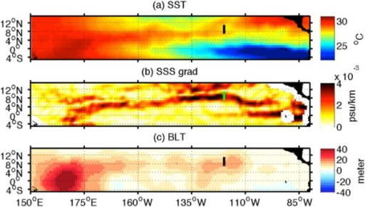 Maps of (a) SST, (b) salinity front and (c) barrier layer thickness (BLT) in October 2012. The green/black lines in Figures 6b/6a and 6c show the cross section of the strong SF used in Figure 7.