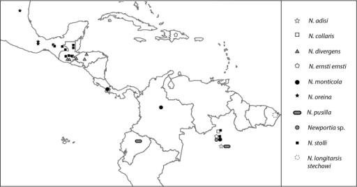 Map of mesoamerica the caribbean and northern south am open i map of mesoamerica the caribbean and northern south america showing geographic distribution of newportia specimens gumiabroncs Images