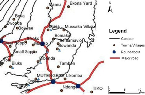Map of the study area. Localities on the slope of Mt. Cameroon included in the survey are indicated by blue triangles