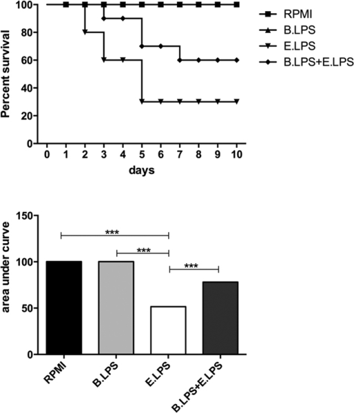 B. quintana LPS suppressed LPS/D-galactosamine-induced lethal endotoxaemia.C57/Bl6 mice were i.p. injected with either PBS (n = 20) or 100 μg B. quintana LPS (n = 20). After 30 minutes 10 mice of each group were injected i.p. with PBS and 10 mice were injected i.p. with E. coli LPS (1 μg) + D-galactosamine (14 mg). Survival was monitored for 10 days. (A) Survival rate. (B) Area under the curve. ***p < 0.01, one-way ANOVA test.