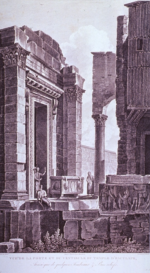 <p>Exterior view of a temple building showing some signs of deterioration; also shown are sarcophagus, bas-reliefs, and Greek inscription.</p>