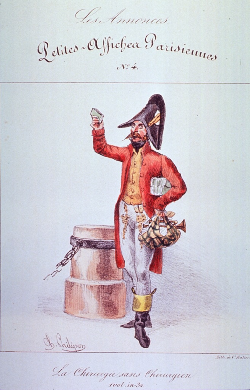 <p>Caricature on quackery:  Full length view of a man standing, wearing a uniform and holding a small bag.</p>