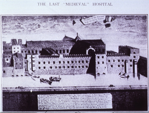 <p>Exterior view of the Palace of the Savoy - last of the old Pre-Reformation Hospitals, which often also fulfilled the function of Hotels.</p>