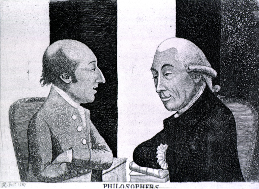 <p>Drs. Joseph Black and James Hutton (on the left) are seated half-length, facing each other in profile; Black's right arm is resting on books and his hand is in his coat; Hutton has his arms crossed.</p>