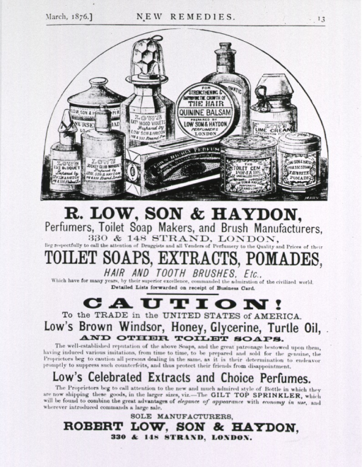 <p>Robert Low, London, various remedies for the American trade.</p>