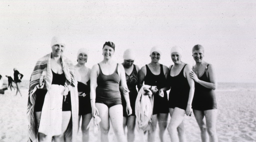 <p>Showing several supervisors in their swimsuits at Jones Beach.</p>