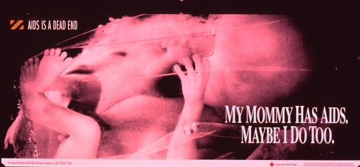 <p>Predominantly black and white poster with orange and red highlights.  Note text in upper left corner along with a block of orange and black stripes suggestive of a road sign.  Visual image is a b&amp;w photo reproduction showing a fetus still within the amniotic membrane.  Title superimposed on lower left corner of photo.  Publisher and sponsor information below.</p>