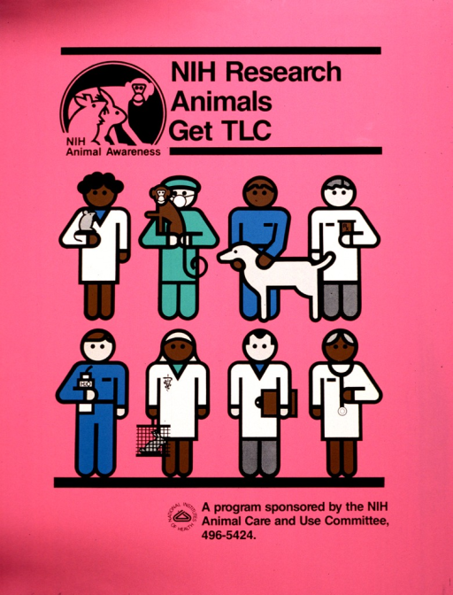 <p>Drawings of some health care professionals holding animals; another is holding a water bottle; another is holding a clipboard.</p>