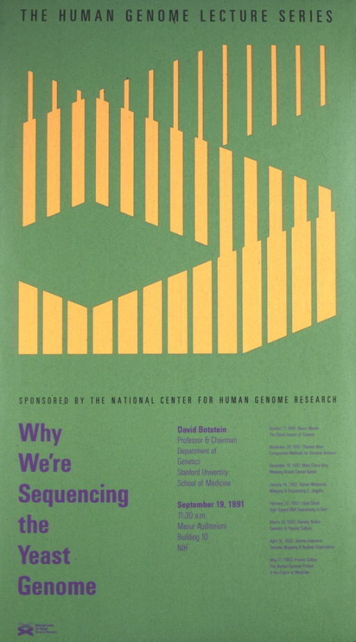 <p>The top portion of the poster has a graphic design of a double helix in orange against the green background of the poster.  The date (Sept. 19, 1991), time, and place of the lecture are given as well as the speaker's affiliation with Stanford University School of Medicine.  Lectures scheduled for Oct. 17, 1991 through May 21, 1992 are also listed.</p>