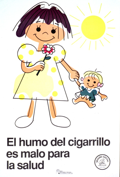 <p>Predominantly white poster with black lettering.  Visual image is a color, cartoon-style illustration of a little girl holding a flower and a doll.  Title below illustration.  Publisher information in lower right corner.</p>
