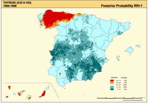 Municipal distribution of thyroid cancer mortality. Posterior probability of RR being greater than 1. Spain 1989–1998.