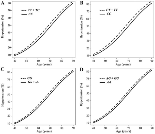 Longitudinal analysis with a generalized estimating equation of the association between the prevalence of hypertension and age according to the genotype for (A) rs2116519 of FAM78B (TT + TC vs. CC), (B) rs6929846 of BTN2A1 (CC vs. CT + TT) (B), (C) rs146021107 of PDX1 (GG vs. G/- + -/-), or (D) rs1671021 of LLGL2 (AA vs. AG + GG).