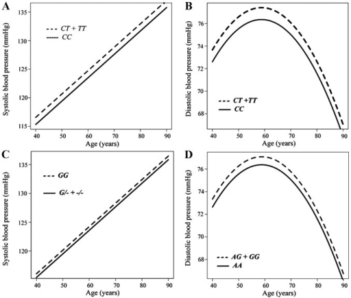 Longitudinal analysis with a generalized linear mixed-effect model of the association between (A) systolic or (B) diastolic blood pressure (BP) and age according to genotype for rs6929846 of BTN2A1 (CC vs. CT + TT), (C) between systolic BP and age according to genotype for rs146021107 of PDX1 (GG vs. G/- + -/-), or (D) between diastolic BP and age according to genotype for rs1671021 of LLGL2 (AA vs. AG + GG) among individuals not taking any anti-hypertensive medication.