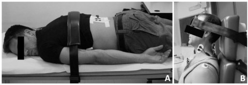 Experimental position for recording maximal voluntary contraction (MVC) of low-back muscles (A) and neck extensor and flexor muscles (B).