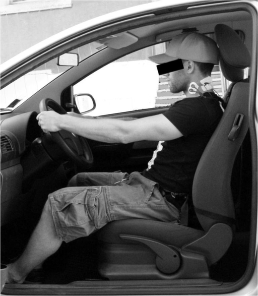 Subject positioning during the driving trials while wearing both ergonomic devices.