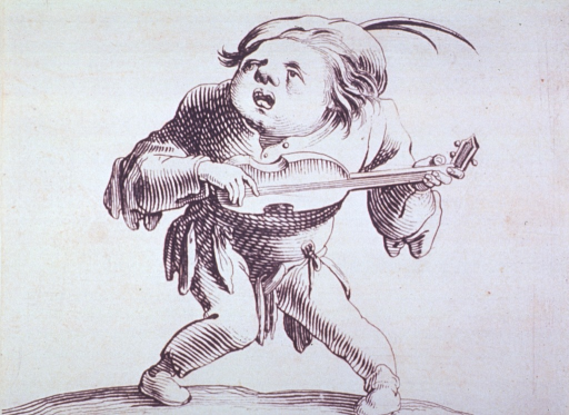 <p>Grotesque figure of a man playing a stringed instrument.</p>
