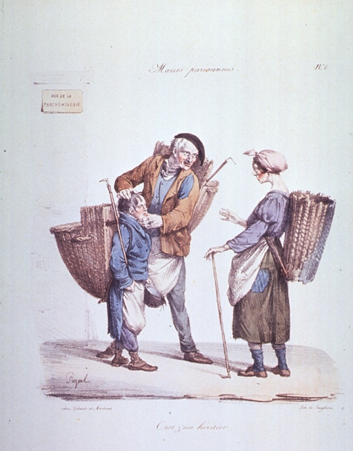 <p>Caricature:  A man, a woman, and a child, each with a basket strapped to their backs and holding sticks that are used to pick up rags; the child is being introduced as the man's heir.</p>