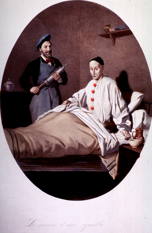 <p>A man in a clown party dress, somewhat pale from a hangover, faces an enema the morning after a party.</p>