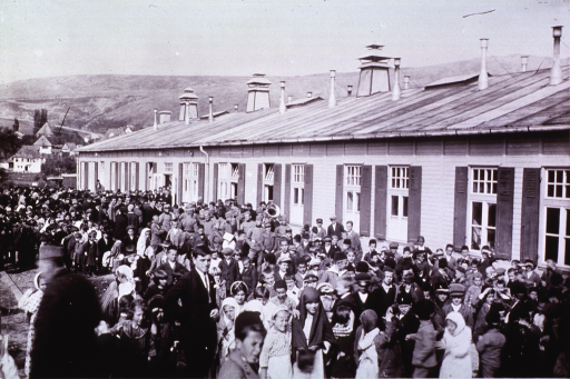 <p>Crowd outside a low wooden building, celebrating the opening of Public Health facilitied in Plevlja, Yugoslavia.  One of a collection of pictures from 1928 depicting the early Public Health Organization.</p>
