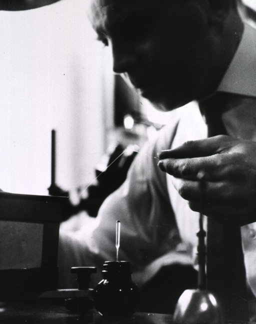 <p>Dr. Rychter is making a glass pipette, only 20 to 30 microns in diameter, for inserting liquid into chick embryo arteries.</p>
