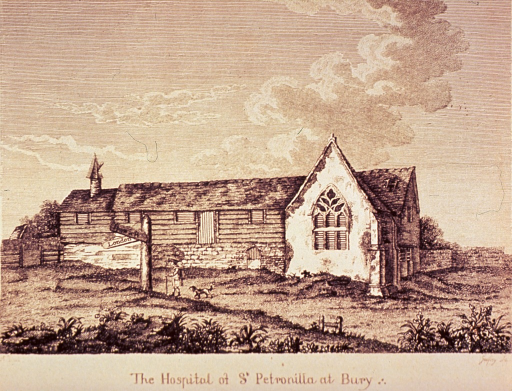 <p>Exterior view of building just off the roadway; a man and a dog pass by on the road to London.</p>