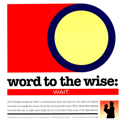 <p>White and red poster with black and white lettering.  Upper portion of poster features a large yellow and purple circle.  Title near center of poster.  Note below title.  Silhouette of a male-female couple in lower right corner.  Publisher information at bottom of poster.</p>