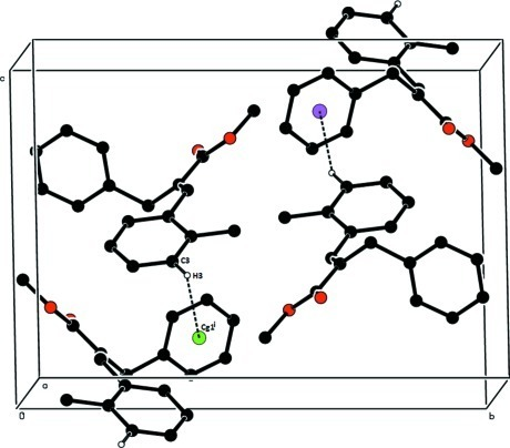 The packing arrangement of the title compound viewed down c axis. The dashed line indicate C3–H3···Cg1i intermolecular interaction. Cg1 is the centroid of the benzene ring (C13-C18). Symmetry code: (i) x+1, -y-1/2, z-3/2.