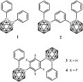 Diphenyl-ortho-carborane 1 and the two-cluster assemblies 2, 3 and 4.