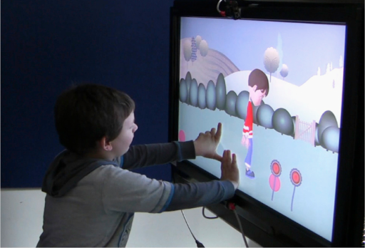 A child playing with the finished ECHOES system.