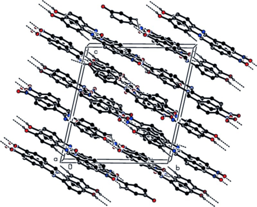 View of the hydrogen bonding and molecular packing of (I) along a axis. Only H atoms involved in H bonding and atoms of the major disorder component are shown.