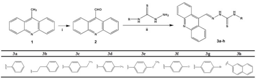 Synthesis of acridine-thiosemicarbazone derivatives. Reagents and conditions: (i) pyridinium chlorochromate (PCC); (ii) EtOH, CH3COOH, reflux, 70 °C.
