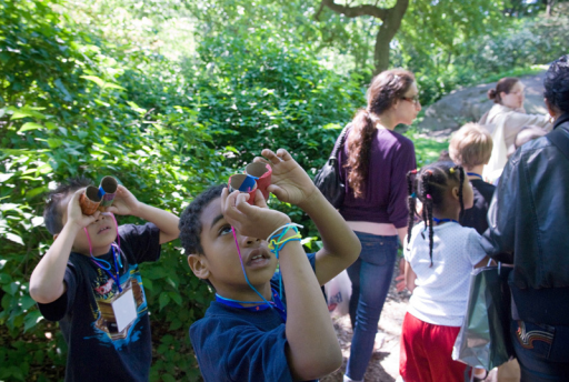 These students made their own binoculars to go birdwatching in New York's Central Park. At 843 acres, Central Park provides a dazzling variety of settings for kids (and adults) to enjoy nature. But even small, simple green spaces, such as tiny pocket parks tucked between city buildings, can offer health benefits.© Frances Roberts/Alamy Stock Photo