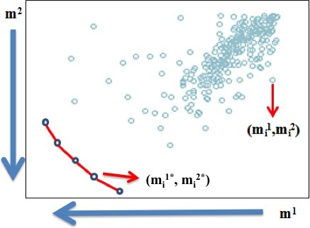 Representation of the Pareto‐efficient frontier of the MCO problem.